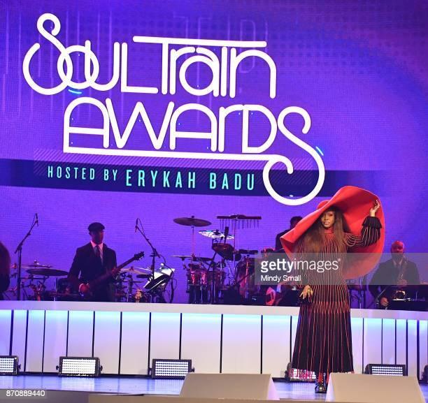 Host Erykah Badu speaks onstage during the 2017 Soul Train Music Awards at the Orleans Arena on November 5 2017 in Las Vegas Nevada