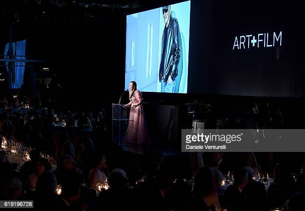 Host Eva Chow speaks onstage during the 2016 LACMA Art Film Gala Honoring Robert Irwin and Kathryn Bigelow Presented By Gucci at LACMA on October 29...