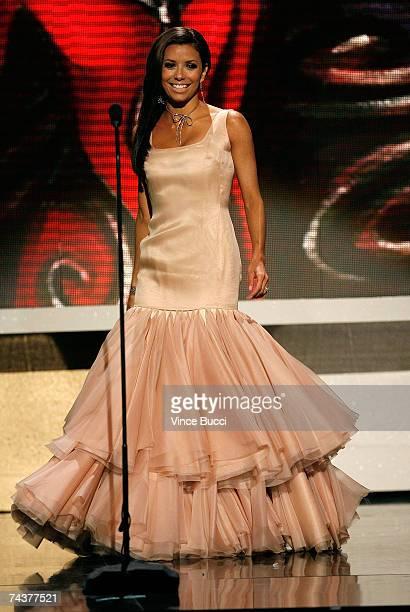 Host Eva Longoria onstage during the 2007 NCLR ALMA Awards held at the Pasadena Civic Auditorium on June 1 2007 in Pasadena California