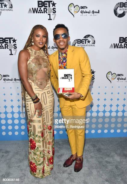 Host Eva Marcille and recording artist Tekno attend the 2017 BET International Awards Presentation at Microsoft Theater on June 24 2017 in Los...