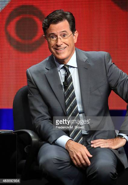Host executive producer writer Stephen Colbert speaks onstage during the 'The Late Show with Stephen Colbert' panel discussion at the CBS portion of...