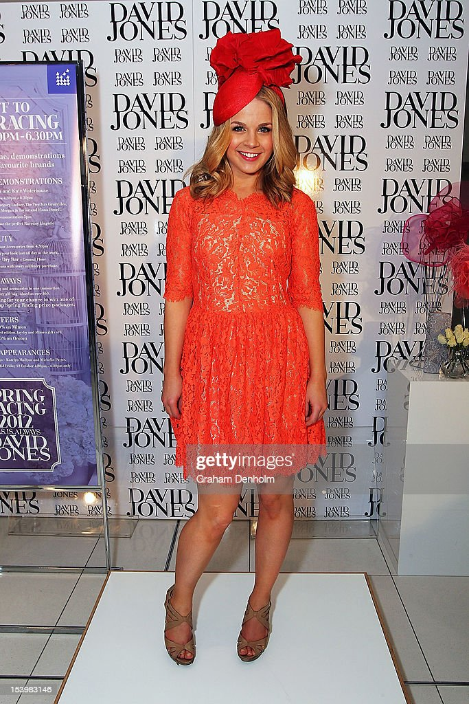 Host for the event Emma Freedman poses at the David Jones High Tea & Spring Millinery Event at David Jones Bourke Street Mall on October 12, 2012 in Melbourne, Australia.