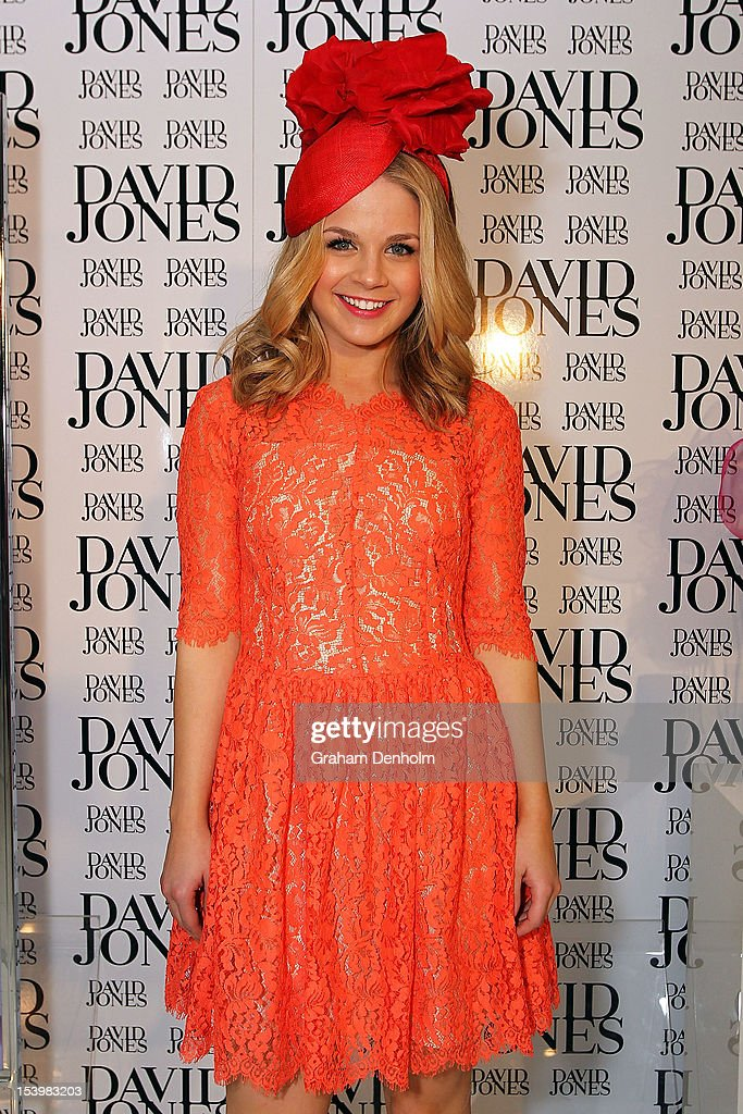 Host for the event Emma Freedman poses at the David Jones High Tea & Spring Millinery Event at David Jones Bourke Street Mall on October 12, 2012 in Melbourne, Australia.