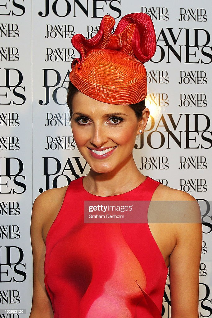 Host for the event <a gi-track='captionPersonalityLinkClicked' href=/galleries/search?phrase=Kate+Waterhouse&family=editorial&specificpeople=208104 ng-click='$event.stopPropagation()'>Kate Waterhouse</a> poses at the David Jones High Tea & Spring Millinery Event at David Jones Bourke Street Mall on October 12, 2012 in Melbourne, Australia.