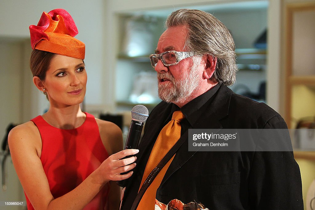 Host for the event Kate Waterhouse (L) talks to milliner Gregory Ladner during the David Jones High Tea & Spring Millinery Event at David Jones Bourke Street Mall on October 12, 2012 in Melbourne, Australia.