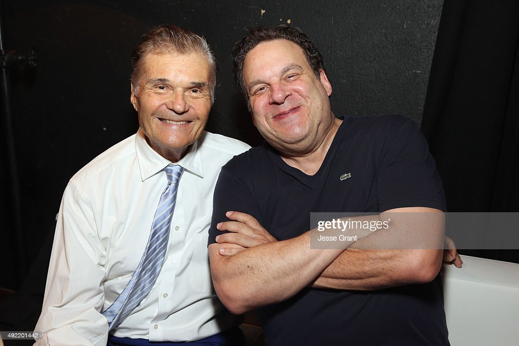 Host Fred Willard and comedian Jeff Garlin pose backstage during the 9th Annual Comedy Celebration presented by the International Myeloma Foundation...