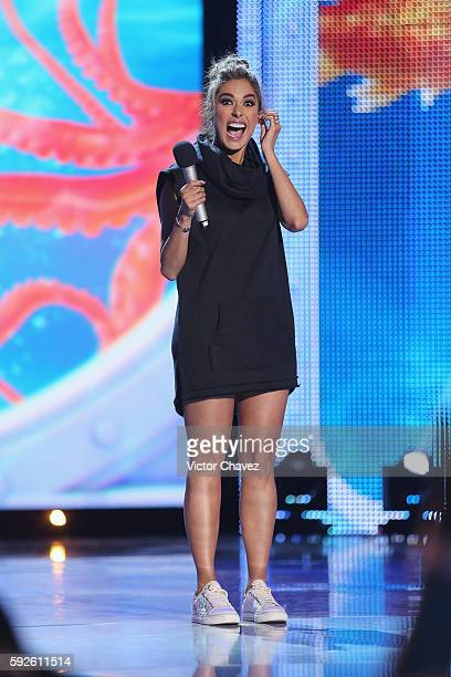 Host Galilea Montijo speaks on stage during the Nickelodeon Kids' Choice Awards Mexico 2016 at Auditorio Nacional on August 20 2016 in Mexico City...