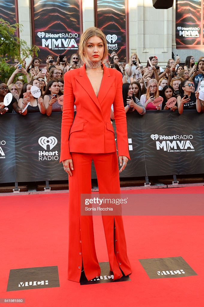 Host Gigi Hadid arrives at the 2016 iHeartRADIO MuchMusic Video Awards at MuchMusic HQ on June 19th 2016 in Toronto Canada