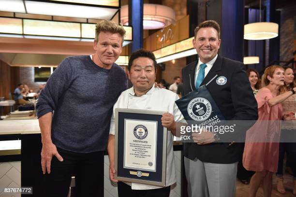 Host Gordon Ramsay and Chef Hiroyuki Terada Chef Hiroyuki Terada successfully set the GUINNESS World Record for Most slices of carrots sliced while...
