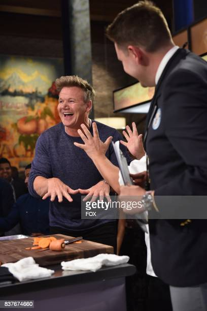 Host Gordon Ramsay with Chef Hiroyuki Terada tries to set the GUINNESS World Record for Most slices of carrots sliced while blindfolded in 30...