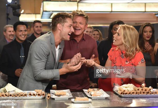Host Gordon Ramsay with special guests Justin Hartley and Cheryl Hines in the allnew Episode Seven episode of THE F WORD WITH GORDON RAMSAY airing...
