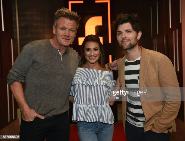 Host Gordon Ramsay with special guests Lea Michele and Adam Scott in the allnew Episode Eight episode of THE F WORD WITH GORDON RAMSAY airing...
