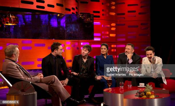 Host Graham Norton Ed Westwick James Buckley Salma Hayek David Walliams and Liam Payne during the filming of the Graham Norton Show at the London...