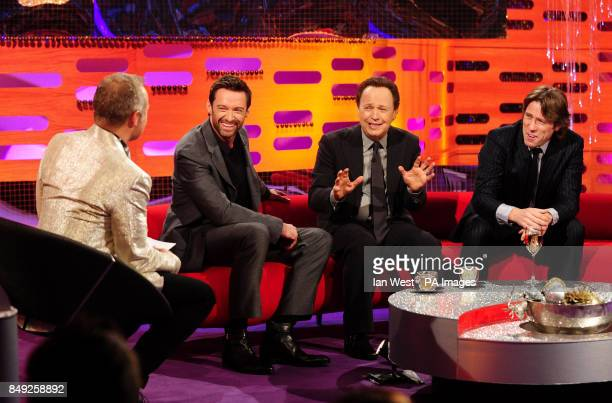 Host Graham Norton Hugh Jackman Billy Crystal and John Bishop during filming of the New Year's Eve edition of the Graham Norton show filmed at the...