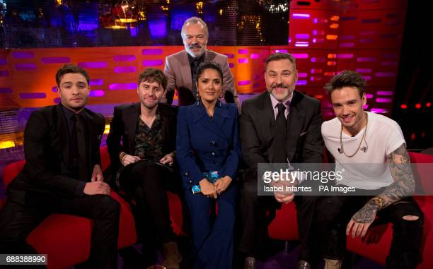 Host Graham Norton with Ed Westwick James Buckley Salma Hayek David Walliams and Liam Payne during the filming of the Graham Norton Show at the...