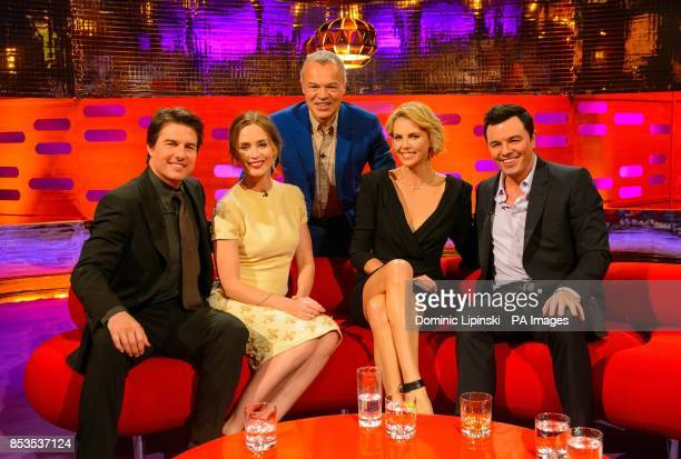 Host Graham Norton with guests Tom Cruise Emily Blunt Charlize Theron and Seth MacFarlane during a recording of the Graham Norton Show at the London...
