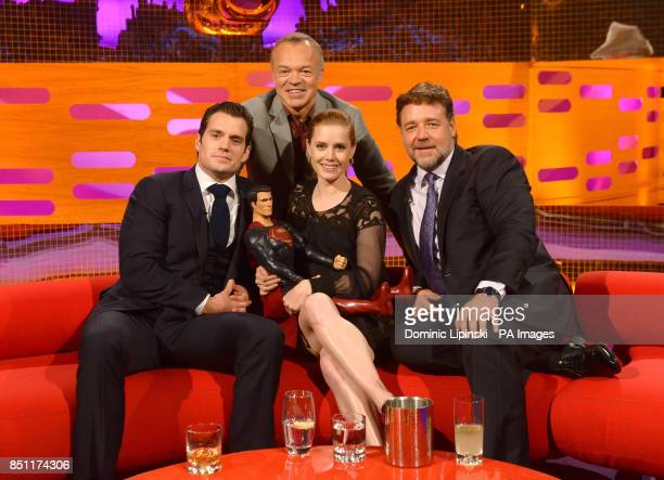 Host Graham Norton with Henry Cavill Amy Adams and Russell Crowe during the filming of this week's Graham Norton show at the London Studios in London