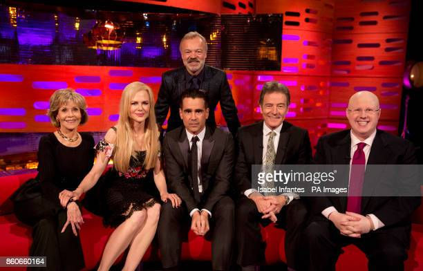 Host Graham Norton with Jane Fonda Nicole Kidman Colin Farrell Bryan Cranston and Matt Lucas during filming of the Graham Norton Show at the London...