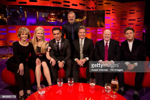 Host Graham Norton with Jane Fonda Nicole Kidman Colin Farrell Bryan Cranston Matt Lucas and Niall Horan during filming of the Graham Norton Show at...