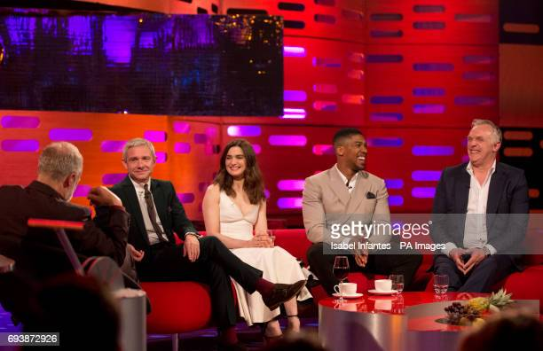 Host Graham Norton with Martin Freeman Rachel Weisz Anthony Joshua and Greg Davies during filming of the Graham Norton Show at the London Studios to...