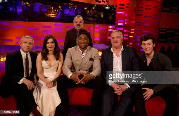 Host Graham Norton with Martin Freeman Rachel Weisz Anthony Joshua Greg Davies and Shawn Mendes during filming of the Graham Norton Show at the...