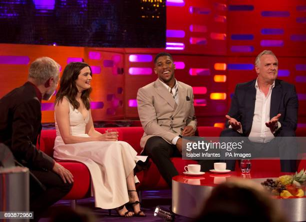 Host Graham Norton with Rachel Weisz Anthony Joshua and Greg Davies during filming of the Graham Norton Show at the London Studios to be aired on BBC...