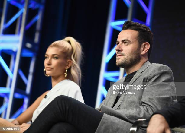 Host Hailey Baldwin and Executive producer Ben Winston of 'Drop The Mic' speak onstage during the TCA Turner Summer Press Tour 2017 Presentation at...