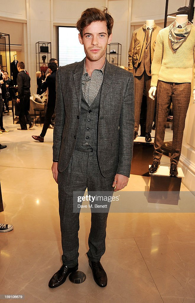 Host Harry Treadaway, wearing Burberry, attends the Burberry Knightsbridge Menswear store to celebrate London Collections: Men AW13 on January 8, 2013 in London, England.