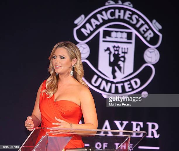 Host Hayley McQueen speaks at the Manchester United Player of the Year awards at Old Trafford on May 8 2014 in Manchester England