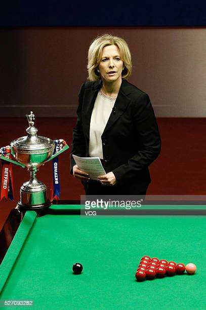 Host Hazel Irvine speaks on the final match between Ding Junhui of China and Mark Selby of England on day sixteen of Betfred World Championship 2016...