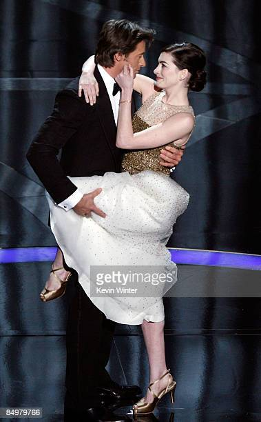 Host Hugh Jackman and actress Anne Hathaway during the 81st Annual Academy Awards held at Kodak Theatre on February 22 2009 in Los Angeles California