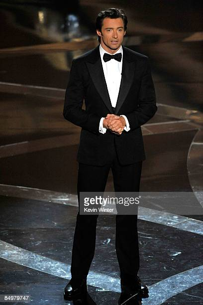 Host Hugh Jackman stands on stage during the 81st Annual Academy Awards held at Kodak Theatre on February 22 2009 in Los Angeles California