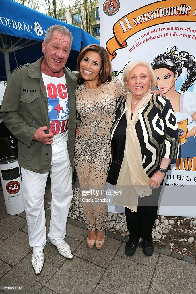 Host Hugo Bachmaier, Patricia Blanco and her mother Mireille Blanco, former wife of Roberto Blanco during the 11th anniversary 'Highway to Helles' of 'Bachmaier Hofbraeu' in Munich on April 30, 2016 in Munich, Germany.