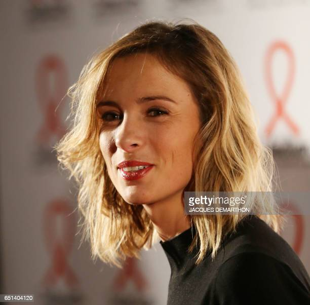 TV host Isabelle Ithurburu looks on as she attends the presentation of Sidaction 2017 a public event to raise funds for AIDS in Paris on March 7 2017...