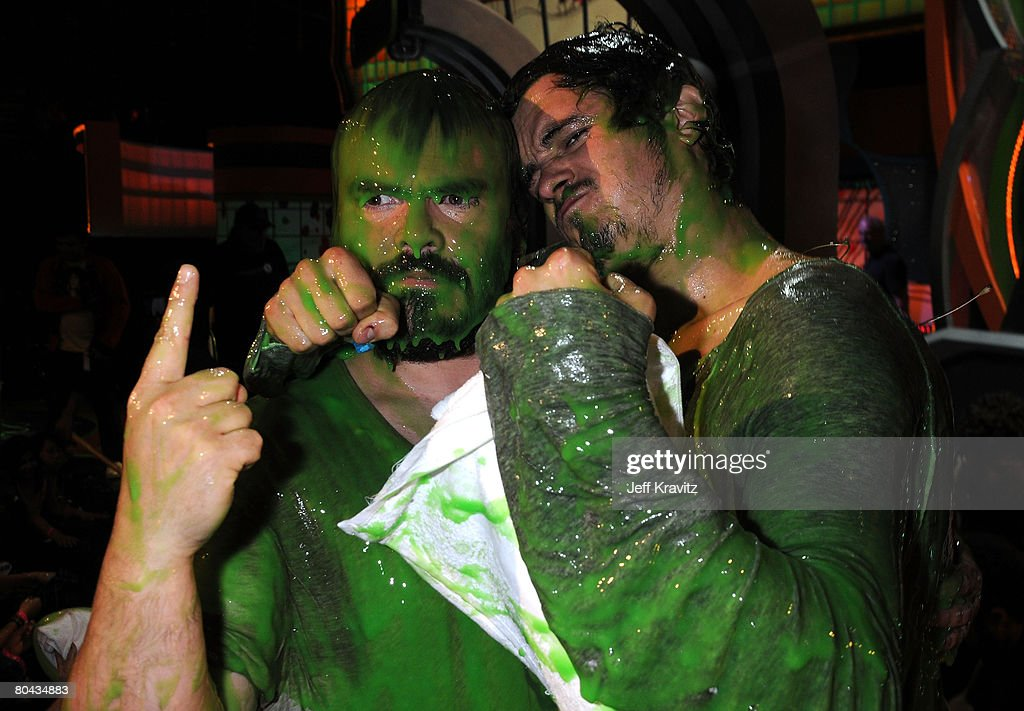 Host Jack Black and actor Orlando Bloom at Nickelodeon's 2008 Kids' Choice Awards on March 29 2008 at the Pauley Pavilion in Los Angeles California