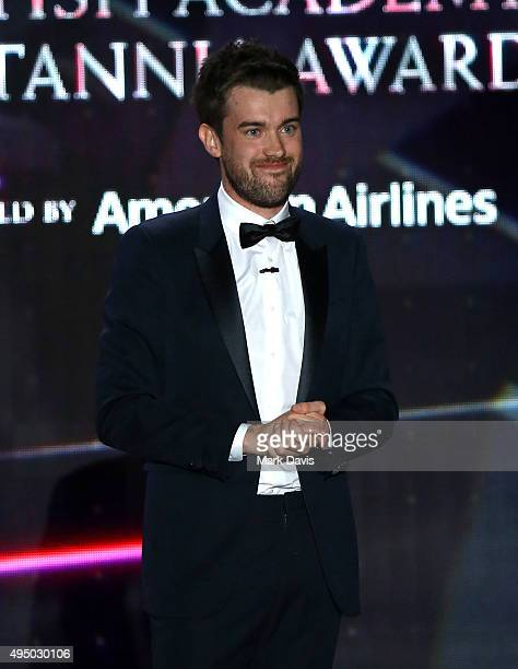 Host Jack Whitehall speaks onstage during the 2015 Jaguar Land Rover British Academy Britannia Awards presented by American Airlines at The Beverly...