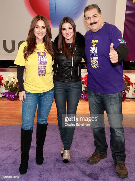 TV host Jackie Guerrido actress Maite Perroni and TV host Fernando Fiore attend the First Annual 'Teleton USA' Fundraising Event in Times Square on...