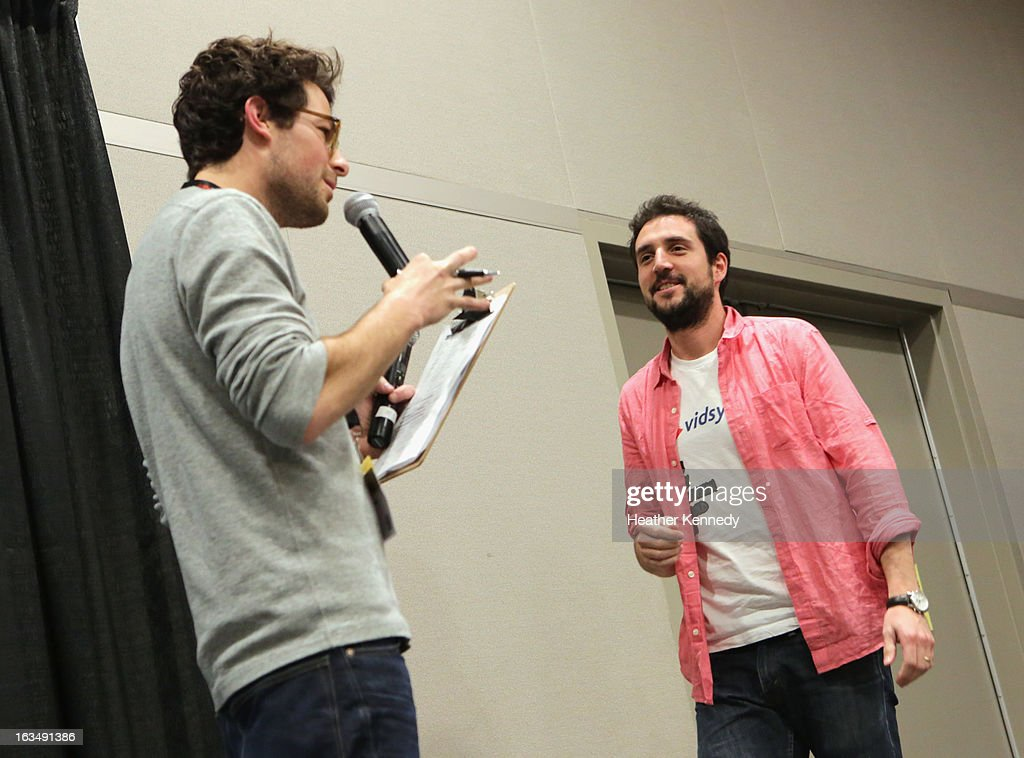 Host Jacob Soboroff (L) speaks onstage at Startup Alley: Fastball Speed Pitches during the 2013 SXSW Music, Film + Interactive Festival at Austin Convention Center on March 10, 2013 in Austin, Texas.