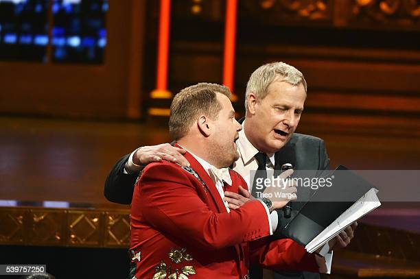 Host James Corden and actor Jeff Daniels speak onstage during the opening number of the 70th Annual Tony Awards at The Beacon Theatre on June 12 2016...