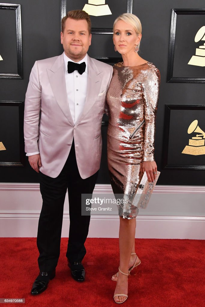host-james-corden-and-julia-carey-attend-the-59th-grammy-awards-at-picture-id634970588
