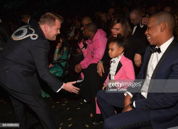 Host James Corden Blue Ivy Carter and rapper Jay Z during The 59th GRAMMY Awards at STAPLES Center on February 12 2017 in Los Angeles California
