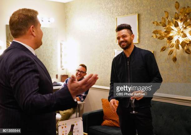 Host James Corden chats backstage with Dominic Cooper during 'The Late Late Show with James Corden' Thursday June 22 2017 On The CBS Television...