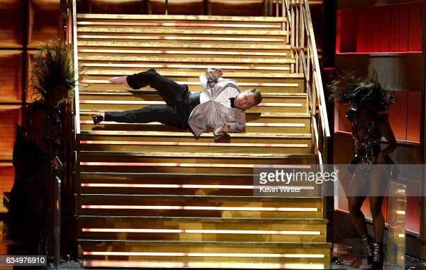 Host James Corden performs onstage during The 59th GRAMMY Awards at STAPLES Center on February 12 2017 in Los Angeles California
