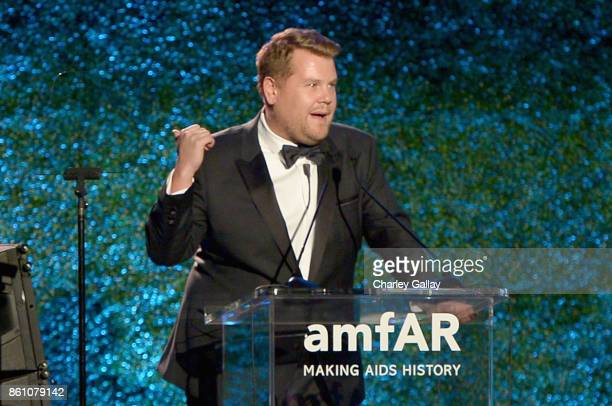 Host James Corden speaks onstage during the amfAR Gala Los Angeles 2017 at Ron Burkle's Green Acres Estate on October 13 2017 in Beverly Hills...