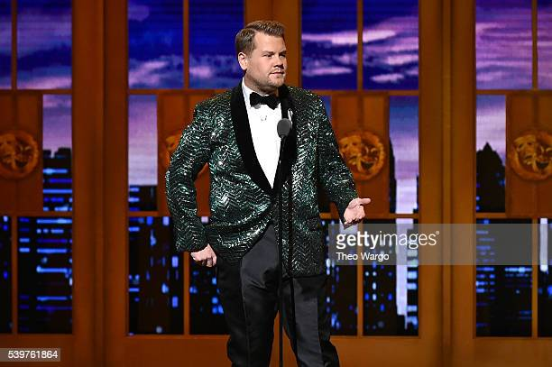 Host James Corden speaks onstage during the opening number of the 70th Annual Tony Awards at The Beacon Theatre on June 12 2016 in New York City