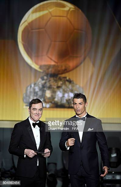 Host James Nesbitt talks on stage with Cristiano Ronaldo of Portugal and Real Madrid during the FIFA Ballon d'Or Gala 2015 at the Kongresshaus on...