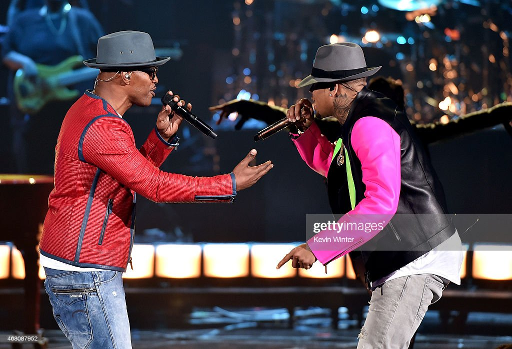 Host Jamie Foxx and singer Chris Brown perform onstage during the 2015 iHeartRadio Music Awards which broadcasted live on NBC from The Shrine...