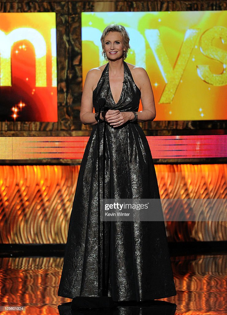 Host <a gi-track='captionPersonalityLinkClicked' href=/galleries/search?phrase=Jane+Lynch&family=editorial&specificpeople=663918 ng-click='$event.stopPropagation()'>Jane Lynch</a> speaks onstage during the 63rd Annual Primetime Emmy Awards held at Nokia Theatre L.A. LIVE on September 18, 2011 in Los Angeles, California.