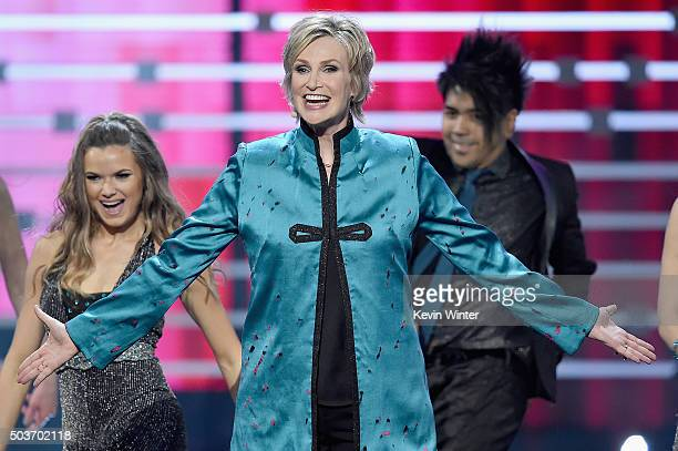 Host Jane Lynch speaks onstage during the People's Choice Awards 2016 at Microsoft Theater on January 6 2016 in Los Angeles California