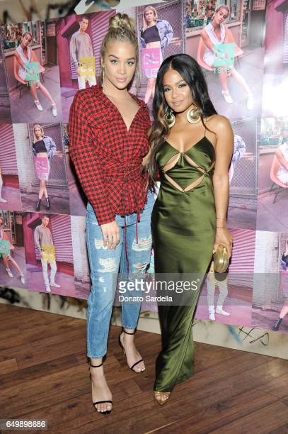 Host Jasmine Sanders and Christina Milian attend the DL1961 campaign launch with Sofia Richie and Jasmine Sanders at The Nice Guy on March 8 2017 in...
